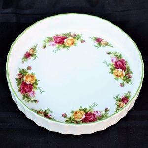 ROYAL ALBERT OLD COUNTRY ROSE GREEN TRIM BAKE PLAT